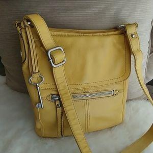Fossil yellow leather crossbody messenger bag